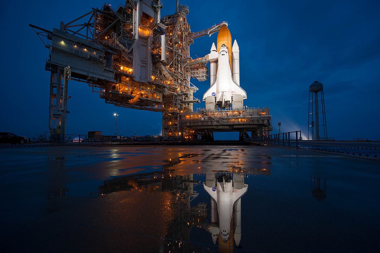 Space shuttle Atlantis prepared for liftoff (night)