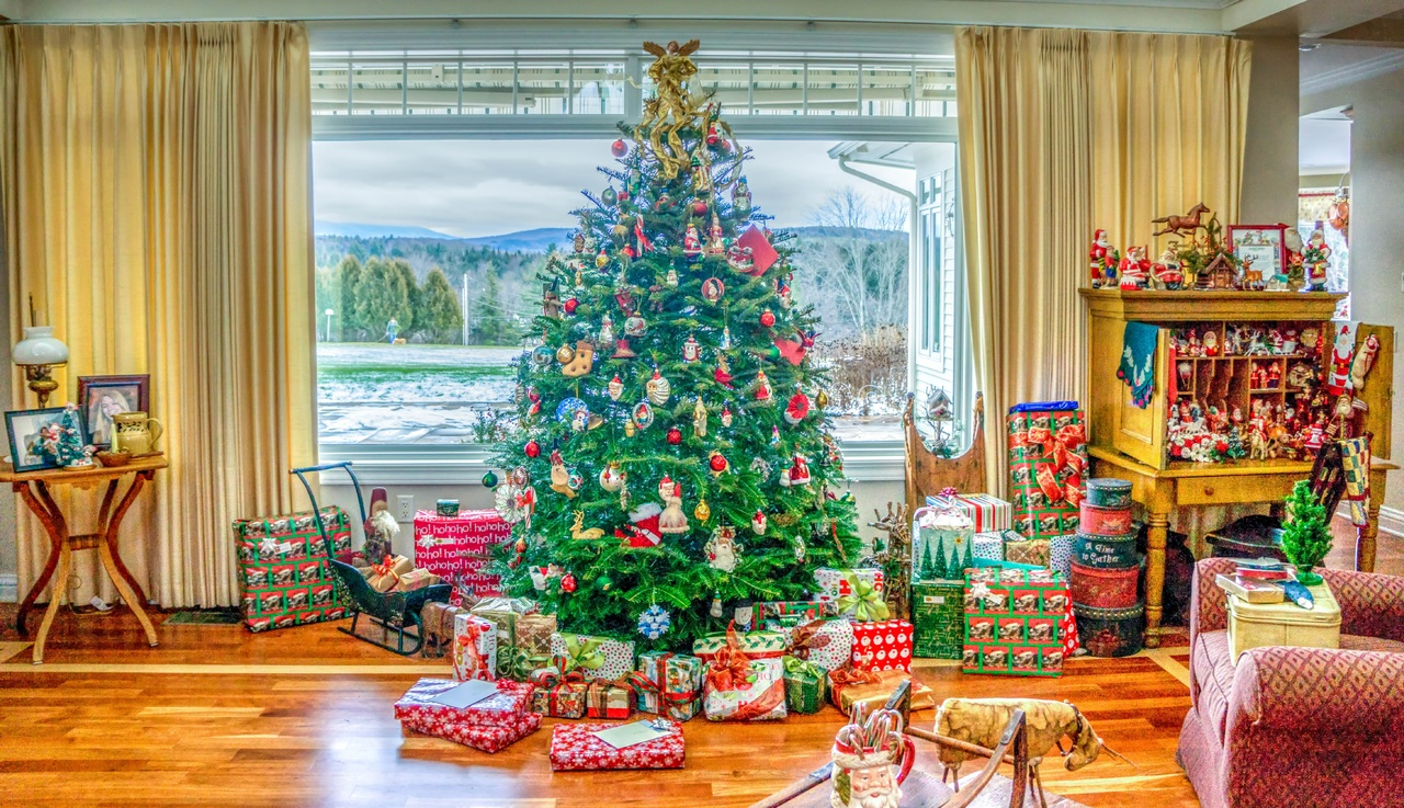 Living room, Christmas tree, and presents