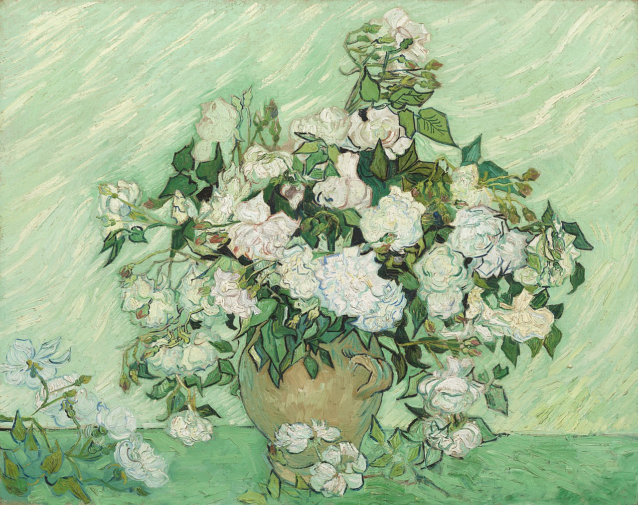 Still Life: Vase with Pink Roses by Vincent van Gogh