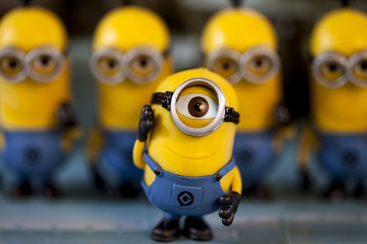 Stylistic photograph of Disney-style minion toys