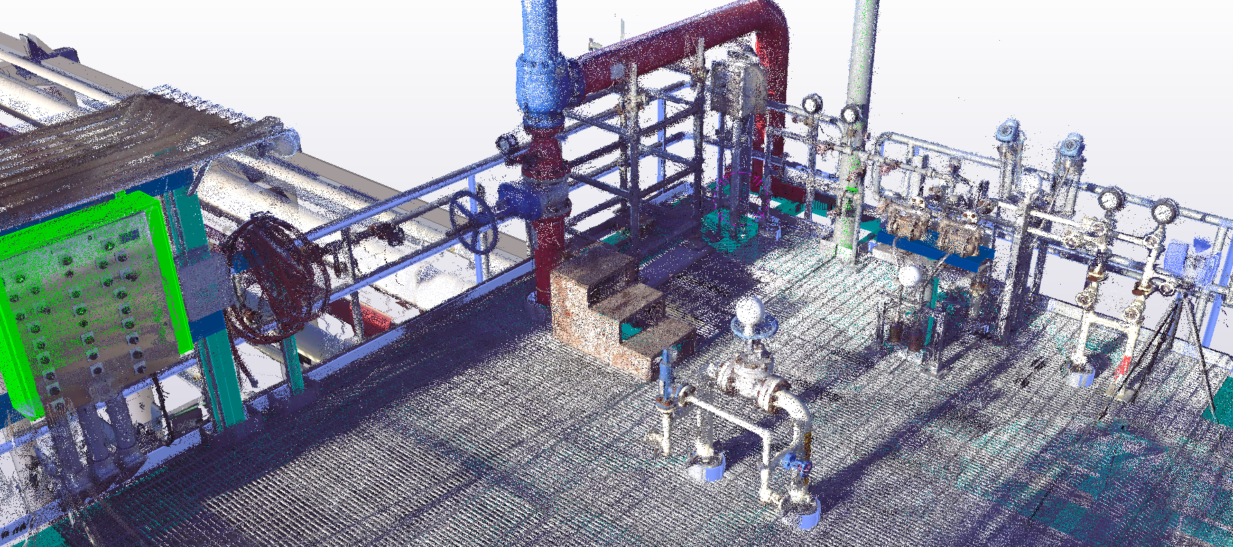 A typical industrial platform model overlaid with a laser scan