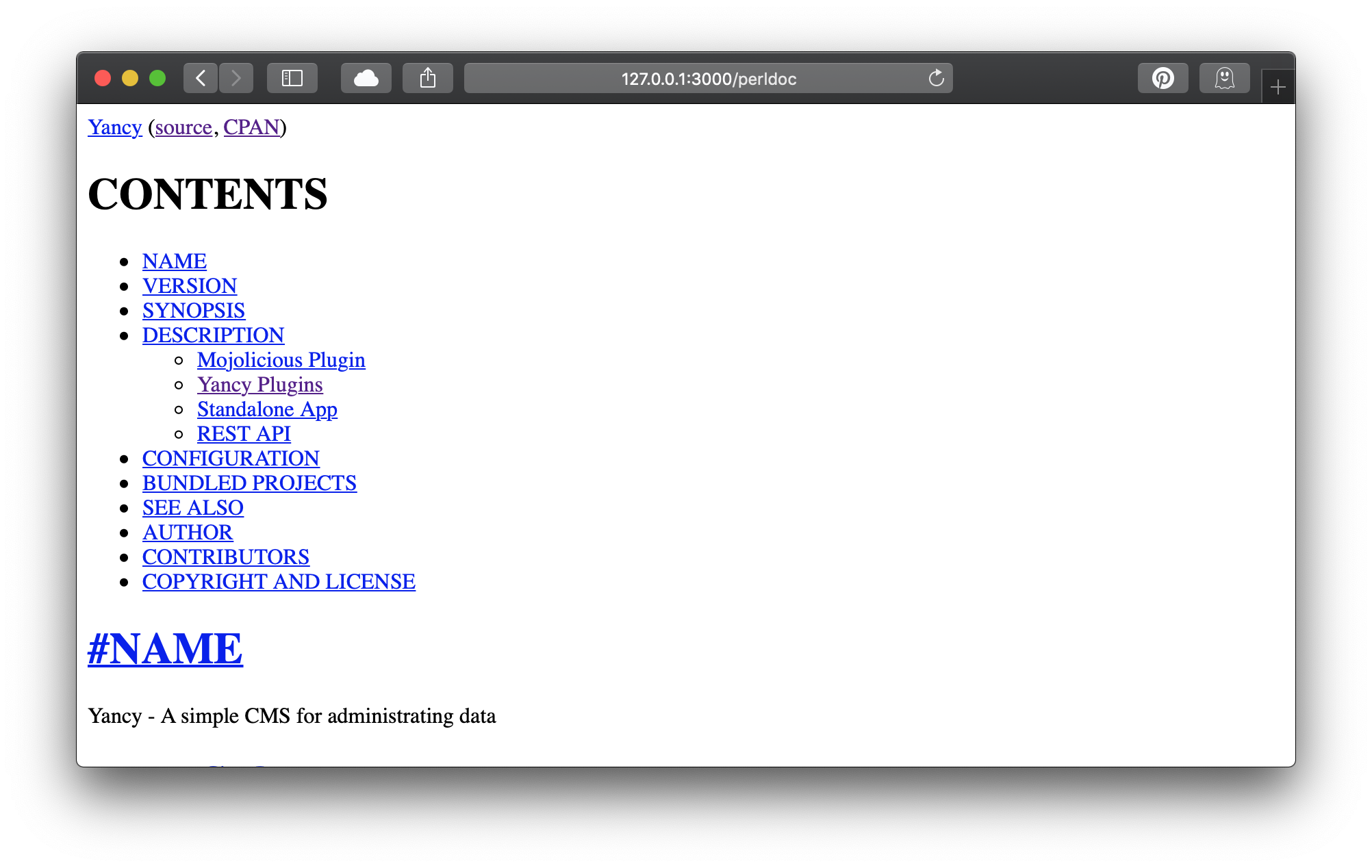 Yancy模块文档的屏幕截图
